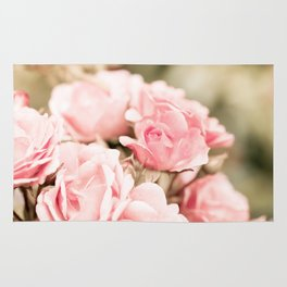 Vintage roses bouquet sepia toned flowers Rug