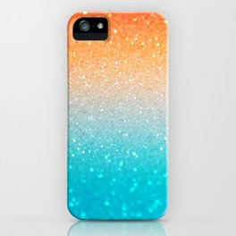 Glitter Teal Gold Coral Sparkle Ombre iPhone Case