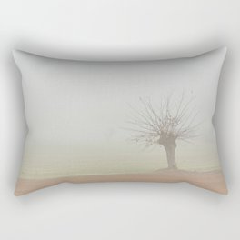 Fallow field in the Po valley with a thick fog Rectangular Pillow