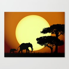 Safari elephants at sunset Canvas Print