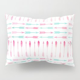 Trendy pink teal watercolor arrows pattern Pillow Sham