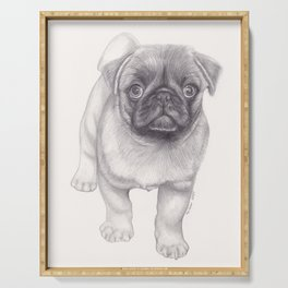 Pug Dog - Animal Pet Pencil Drawing  Four Legged Freind Serving Tray