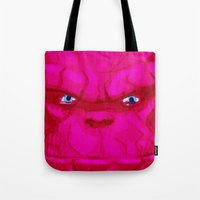 quibe Tote Bags featuring Post-it Portrait: Ben Grimm by quibe