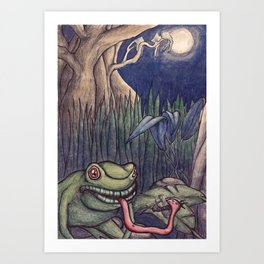 frogs dinner under the silvery moon Art Print