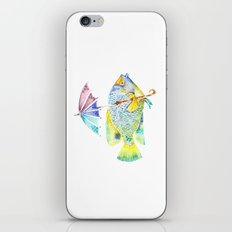 Fishy Fish - Original Watercolor of Yellow Mask Angel Fish with Umbrella iPhone & iPod Skin
