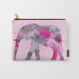 Crazy pink Elephant Paint Splatter Art Carry-All Pouch