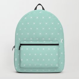 Aqua blue and White cross sign pattern Backpack