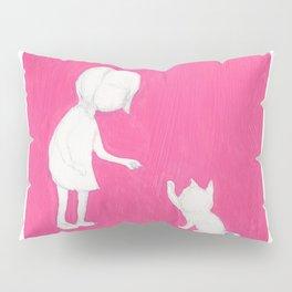 pink girl high five cat touch Pillow Sham