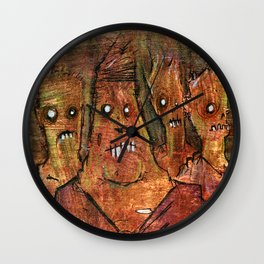 Zombies in a Red Dawn Apocalypse Wall Clock