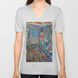 The Beautiful, Messy, Eclectic Room of the Artist When Nobody Else is Around by Pierre Bonnard Unisex V-Neck