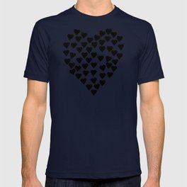 Hearts Heart Black and White T-shirt