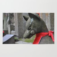kitsune Area & Throw Rugs featuring Kitsune Fox by Stevyn Llewellyn