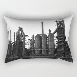 Bethlehem Steel Blast Furnaces in black and white 6 Rectangular Pillow