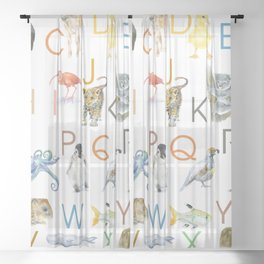 Alphabet Animals Watercolor 2 Sheer Curtain