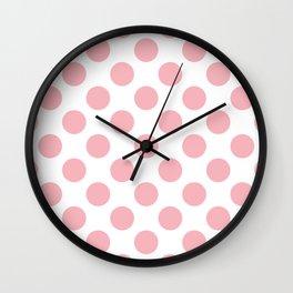 Large Coral Polka Dots Pattern Wall Clock