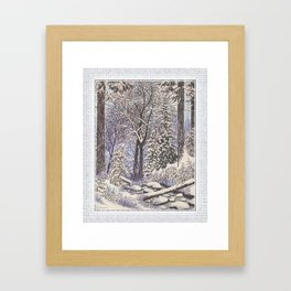 SNOWY WOODLAND BLACK AND BLUE PEN DRAWING Framed Art Print