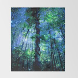 Forest of the Fairies Blue Night Throw Blanket