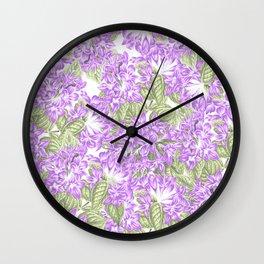 Botanical violet lavender green floral pattern Wall Clock