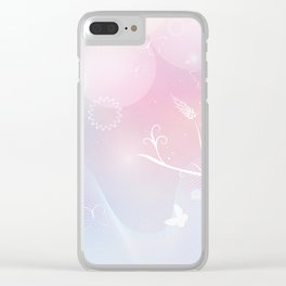floral background with flowers, leaves, bird and branches of blooming tree. Stylized garden in tints Clear iPhone Case