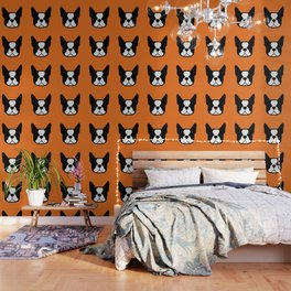 Boston Terrier - bold and moden in orange Wallpaper