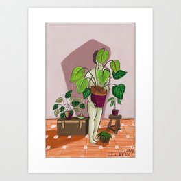 boys with love for plants illustration painting Art Print