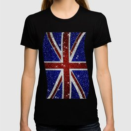 Glitters Shiny Sparkle Union Jack Flag T-shirt