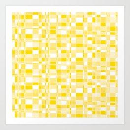 Mod Gingham - Yellow Art Print