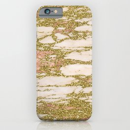 Glitter Gold and Rose Gold Marble With Diamonds iPhone Case