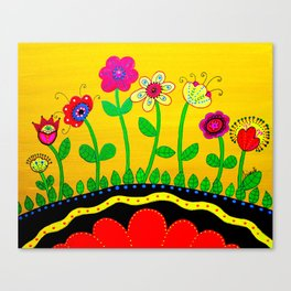 Mexican Folk Art Whimsical Flowers  Painting Canvas Print