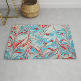 Blue and red coloured marbling art piece  Rug