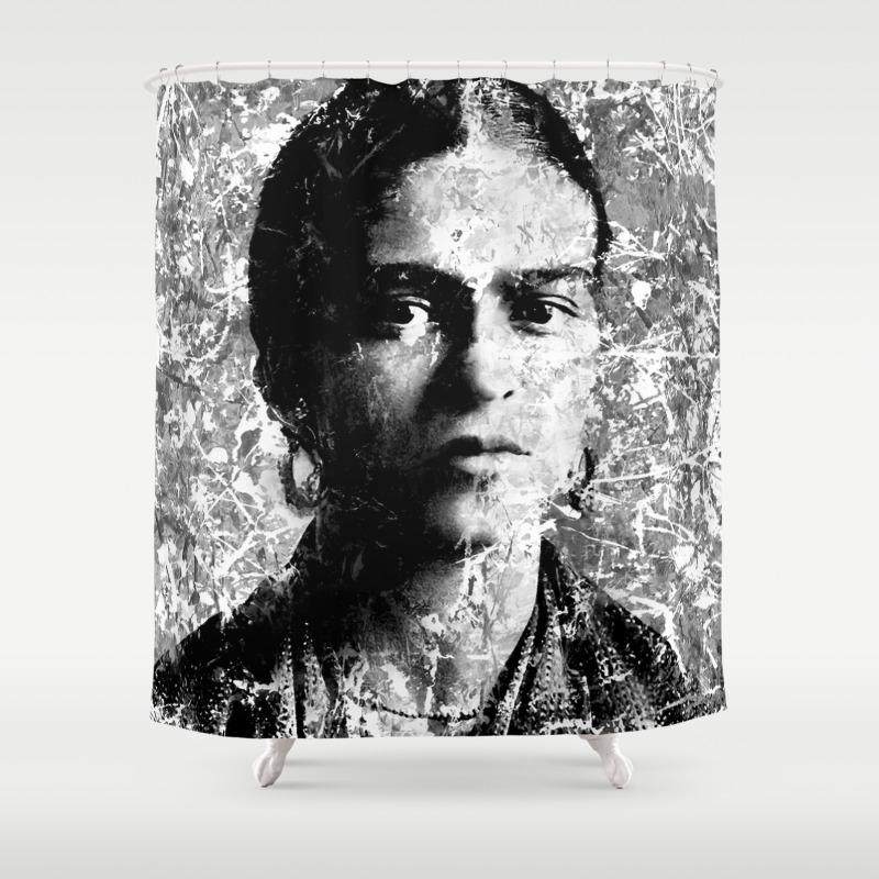 Frida kahlo black white version shower curtain by vonis society6