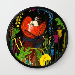 Couple in love in the jungle Wall Clock