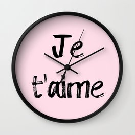 Je t'aime Pink Wall Clock