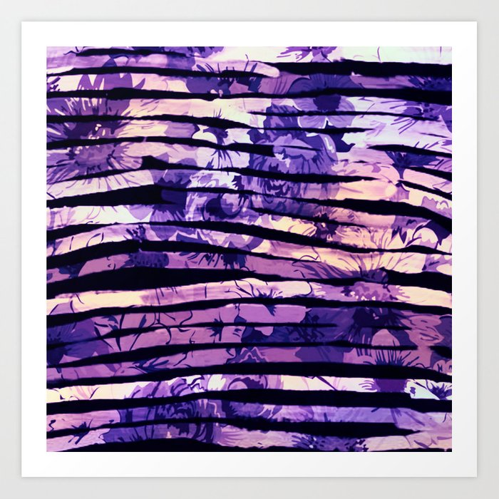 purple floral stripes Art Print