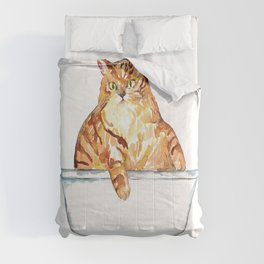 SPA Cat tabby Painting Wall Poster Watercolor Comforters
