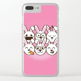 Rabbit Emoticons Clear iPhone Case