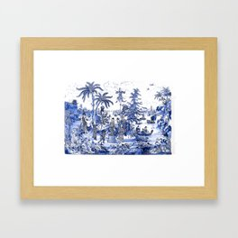 Chinoiserie Blue Landscape Framed Art Print