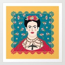 Frida Viva Cushion Yellow Art Print
