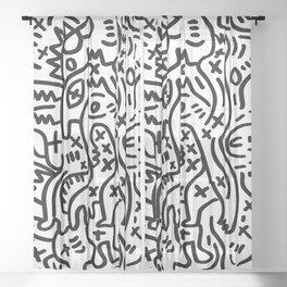 Graffiti Street Art Black and White Sheer Curtain