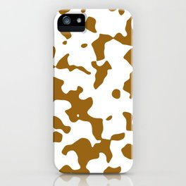 Large Spots - White and Golden Brown iPhone Case