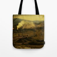train Tote Bags featuring train by MartaSyrko