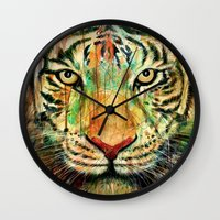 tiger Wall Clocks featuring Tiger by nicebleed