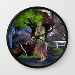 Green Fairy and Shoe House Wall Clock