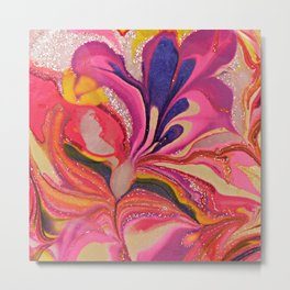 Pink and Purple Floral Abstract Art Metal Print