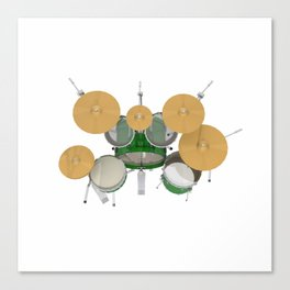 Green Drum Kit Canvas Print