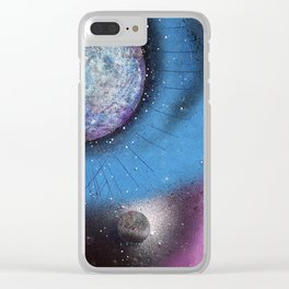 Cosmic Moon Clear iPhone Case