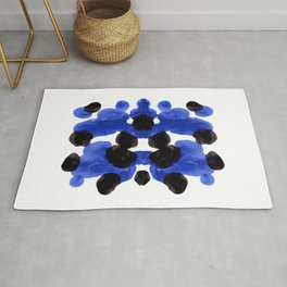 Periwinkle Purple Blue And Black Ink Blot Diagram Rug