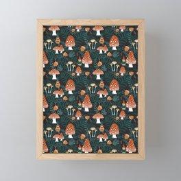 Mushroom Forest Gnomes Framed Mini Art Print