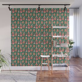 Gingerbread Houses And Sweets Candies - Green Wall Mural