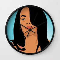 aaliyah Wall Clocks featuring Babygirl by 92 Aesthetics